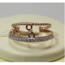 Двойное золотое кольцо с фианитами