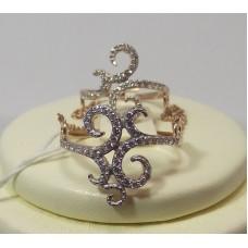 Золотое кольцо двойное с фианитами
