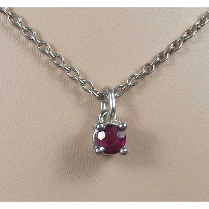 Серебряная подвеска с рубином