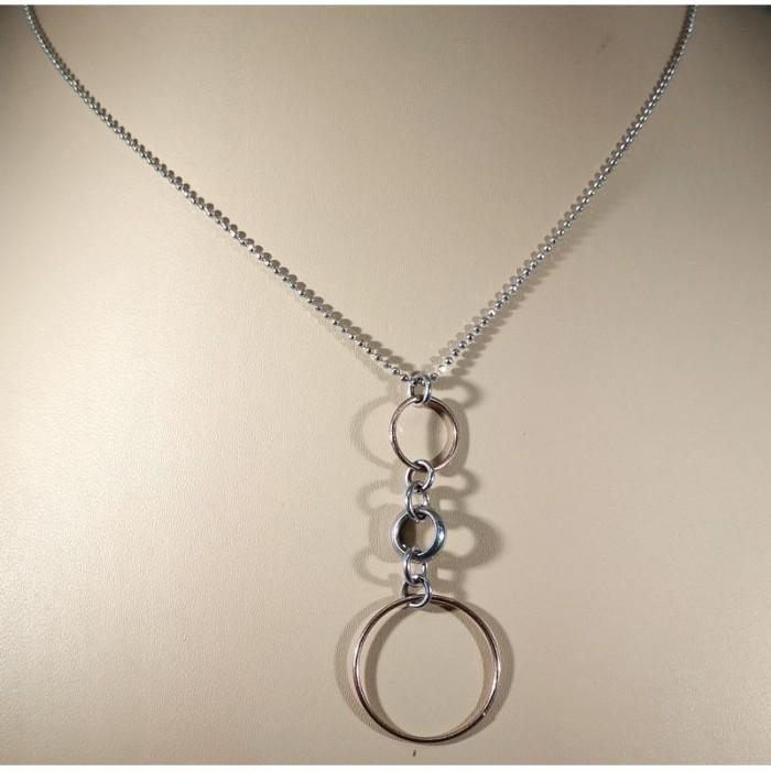Серебряное колье с позолоченными кольцами
