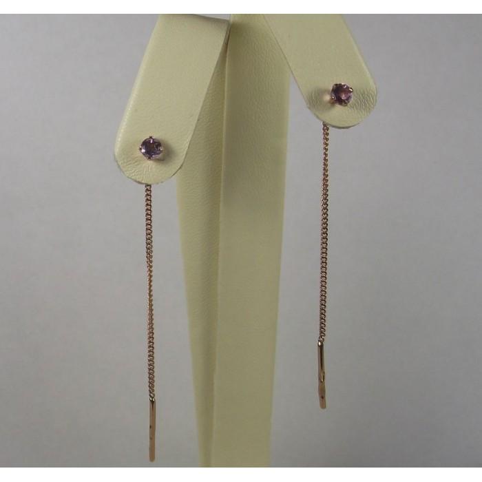 Серьги продевки (протяжки) с аметстом