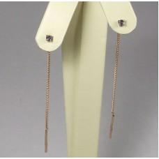 Золотые серьги протяжки с сапфирами