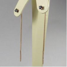 Золотые серьги продевки с сапфиром.